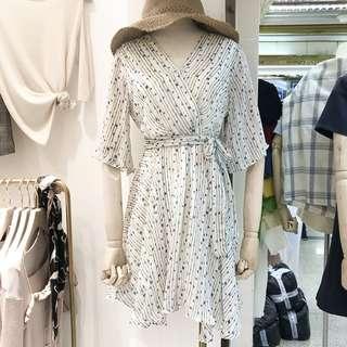 韓國V領雪紡連身短裙