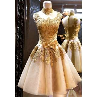 Gown Collection - Fancy Gold Lace Charming Mini Gown