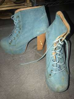 Sky Blue Laced Boot Heels