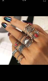 Bohemian Vintage ring set 10pcs