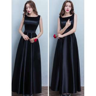 Gown Collection - Simply With No Design Black Sleeveless Gown