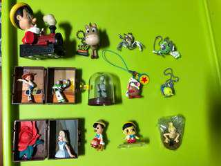 Toys story, Pinocchio, Alice in the wonderland