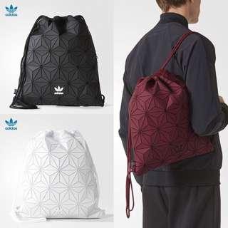 3D菱形幾何休閑運動校園書包菱格拼接拉繩束口袋黑白色雙肩背包