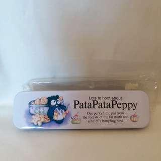 ❎❎清倉跳樓不議價❎❎ sanrio patapatapeppy 貓頭鷹雙層鐵筆盒 1992年