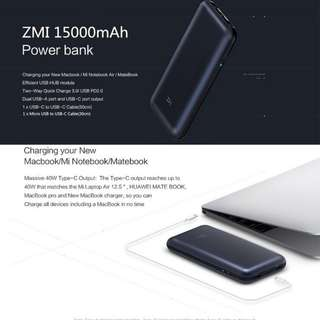 Xiaomi ZMI Power Bank 15000mAh Powerbank External Battery Micro USB Type-c Cable PD 45W type c Fast