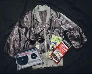 🛸Tokyo Silver Satin Bomber Jacket -  Off Duty Wardrobe Staple!