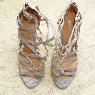 Head Over Heels By Dune  Silver Heel Sandals