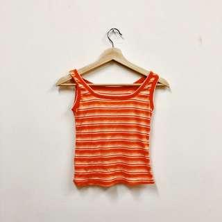 🚚 橘色 條紋 無袖背心 古著 二手