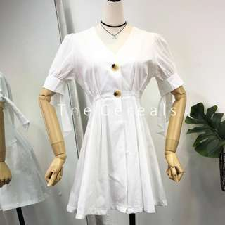 TC2476 Korea Retro Summer French Chic Dress (White,Black)