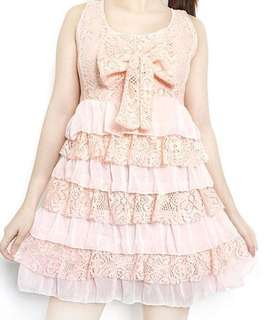 PINK RUFFLED DRESS