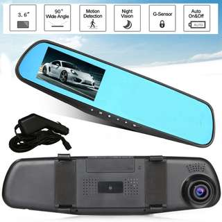 🔥READY STOCK🔥 3.6 inch dash cam Mirror HD 720P Car Cam Car Camera Recorder Cam