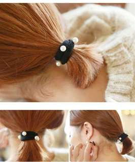 🚚 【現貨】珍珠髮圈髮束-黑5條/組