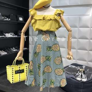 TC2477 Korea 2 Pieces Frill Yellow Top + High Waist Pineapple Skirt (Set)