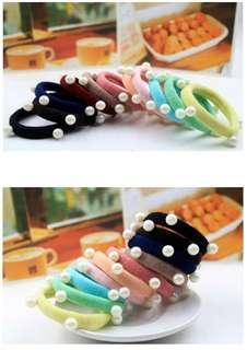 🚚 【現貨】珍珠彩色髮圈髮束-顏色隨機5條/組
