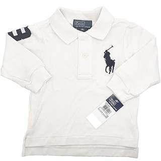 AUTHENTIC N BRAND NEW Ralph Lauren Baby Boy Cotton Big Pony Polo Long Sleeve Shirt WHITE Size 12M 18M 24M