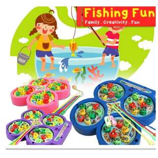 Kids Chilren Toy Education Fun Realeos Four Fish Pond Fishing Rotating Magnetic Music