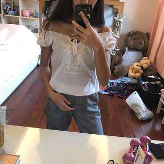 Pandini Authentics White off shoulder blouse or top