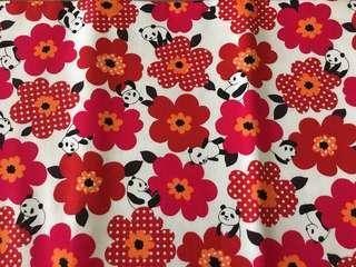Panda Red Flower cotton