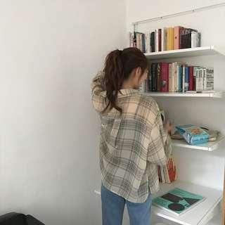 韓國夏季復古條紋防曬襯衫