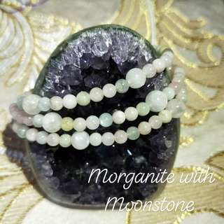 🚚 Unique Three Rounds Good Grade Morganite with Moonstone Bracelet @ $48.00