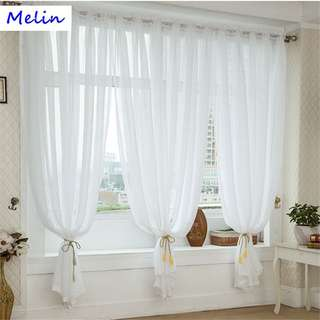 4 Color Linen Sheer Curtain Tulle for Living Room Curtain Valance Window Decor
