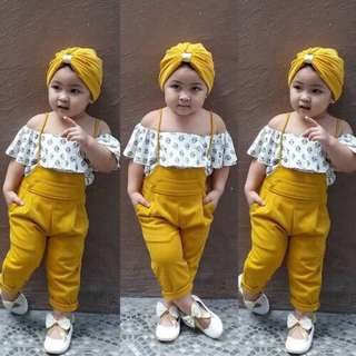 Girls 3pcs Floral Tops+Headband+Jumpsuit Romper Set