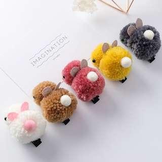 #8506 羊羔毛兔子髮夾 兒童