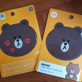 BNIB authentic Line friends Brown Two Face Coasters