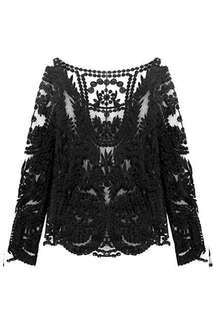 H&M Black Lace Top Long Sleeves