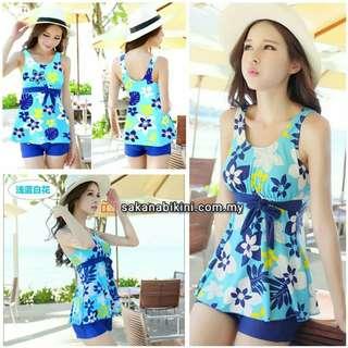 <XXL available>Blue floral print 2 pcs swimsuit