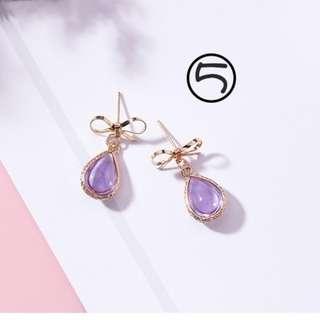 #3215 典雅紫色蝴蝶結水晶耳環
