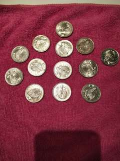 Old Singapore Coins 50 cents 1for $4