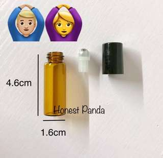 20 Glass Roller Bottles Amber 5ml