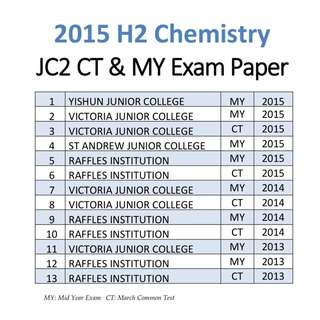 2015 JC2 H2 Chemistry common test / mid year exam paper / Part 2 / Common test / Block Test  / H2 Chem / H2 Chemistry / JC2 / exam paper / past year papers / PART 2
