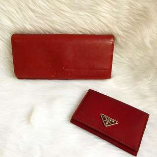 Authentic Prada wallet and card holder