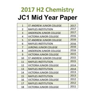 2017 JC1 H2 Chemistry mid year / exam paper / Common test / Part 2 / H2 Chem / H2 Chemistry / JC / exam paper / past year papers
