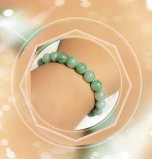 全新品 天然A貨緬甸玉珠 9.2mm 嫩綠色 手串一條 手圈 内圍直徑 size: 5cm   B-05