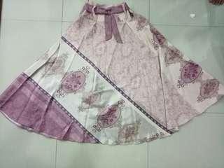 Pattern Wide Skirt (Pink)
