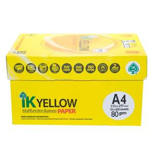 IK Yellow Paper 80gsm - A4 size - 10 ream - 450 sheets