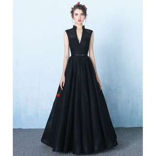 Gown Collection - Formal Deep V Design Sleeveless Black Gown