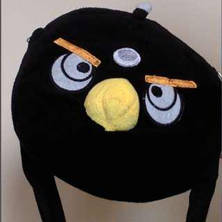 BRAND NEW Angry BlackBird Pouch with Soft Plush Yellow Beak for a 3D-effect