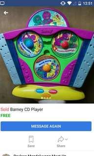 Seldom used❤ Barney CD player