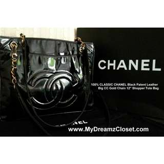 "100% CLASIC CHANEL Black Paten Kulit Big CC Gold Chain 12 ""Shopper Tote Bag"