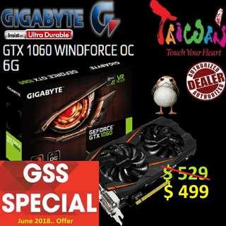 Gigabyte WINDFORCE series GTX 1060 WINDFORCE OC 6G.