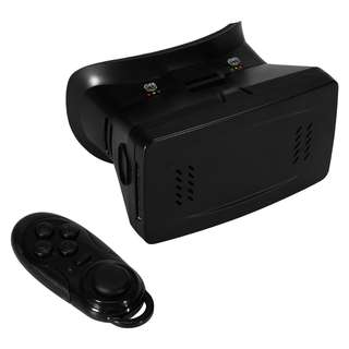 AC298 - 智能手机3D眼镜 VR虚拟现实头盔通用+无线自拍遥控3D万能控制器 (黑色)