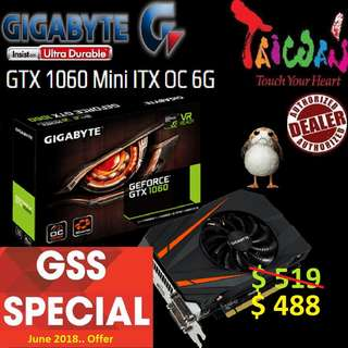 Gigabyte ITX series GTX 1060 Mini ITX OC 6G.
