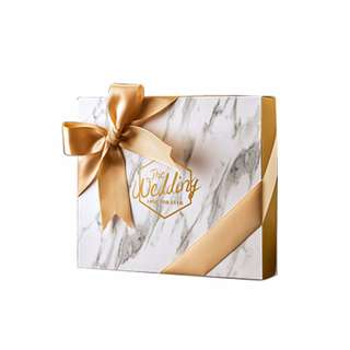 🚚 Marble Gift Box with Gold Ribbons