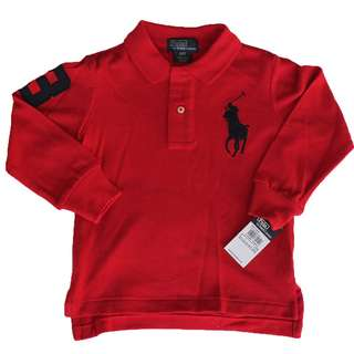AUTHENTIC N BRAND NEW Ralph Lauren Baby Boy Cotton Big Pony Polo Long Sleeve Shirt RED Size 9M 24M 3/3T 4/4T 5 6 7