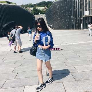 韓國帶回正韓LA道奇高質感刺繡寶藍超好看短版BF上衣tee