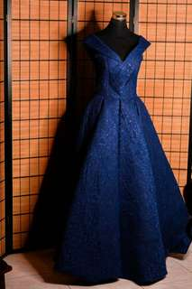 Midnight Blue Off-shoulders Gown